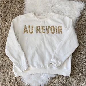 🤘🏼H&M au revoir white crewneck sweatshirt gold